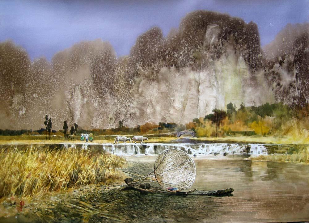 简单风景水彩画作品